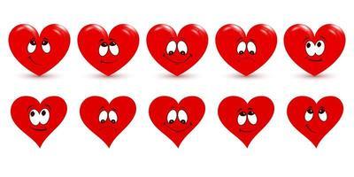 set di cuori rossi su sfondo bianco. il simbolo principale di buon San Valentino. vettore