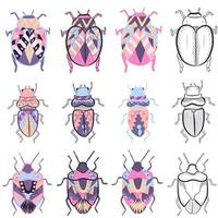 pacchetto di piccoli elementi con diversi disegni di insetti colorati vettore