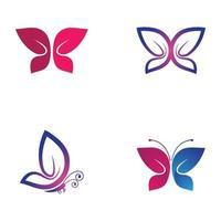 set di immagini del logo della farfalla di bellezza