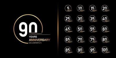 set design emblema celebrazione anniversario d'oro vettore