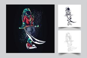 illustrazione di opere d'arte spada astronauta vettore