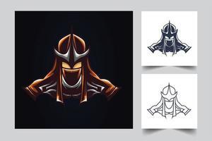 illustrazione di opere d'arte di ninja samurai vettore