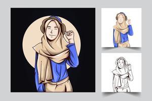 illustrazione di opere d'arte di figura femminile vettore