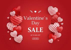 banner di vendita di San Valentino, adorabili cuori di San Valentino