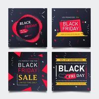 vendita di moda promozionale venerdì nero per post sui social media.