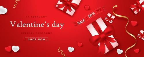 banner web promozionale per la vendita di san valentino. bellissimo sfondo con il colore del tessuto rosso. vettore