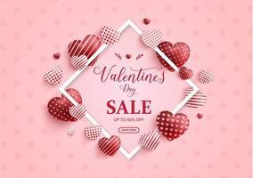banner di vendita di San Valentino con cuori di San Valentino per amore