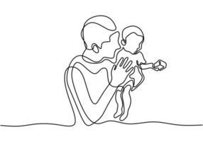 un disegno a tratteggio continuo di un uomo con un bambino. padre e suo figlio. vettore