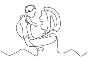 Buona festa della mamma. continua singola linea disegnata una donna che gioca con un bambino. la mamma le dà amore per il bambino. vettore