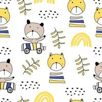 seamless con simpatici gattini colorati. illustrazione di gattino divertente nello stile di abbozzo. sfondo di animali del fumetto. vettore