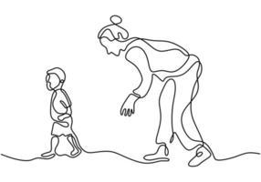 una mamma di linea tracciata continua insegna ai suoi figli a camminare. vettore