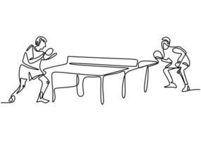 disegno continuo a linea singola di giovani giocatori di tennis da tavolo agili che colpiscono la palla. due atleti che giocano a ping pong. vettore