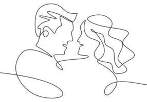disegno in linea continua. ritratto di coppia romantica. amanti tema concept design. minimalismo disegnato a mano. vettore