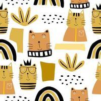modello senza cuciture di gatti carino. trama infantile creativa. vettore