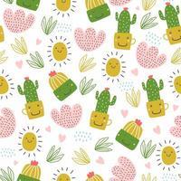 modello senza saldatura estate con cactus. vettore