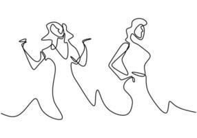 disegno a tratteggio continuo di due donne che ballano. donna che balla felice. esprimere felicità vettore