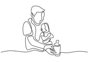 padre che si prende cura del suo bambino. dando un latte per bambini quando il suo bambino sta piangendo. vettore