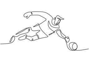 continuo un disegno a tratteggio del giovane che gioca a calcio come portiere. vettore