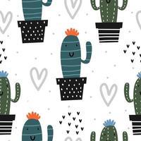 modello carino con disegno di cactus. elementi divertenti del giardino botanico disegnato a mano senza cuciture. vettore