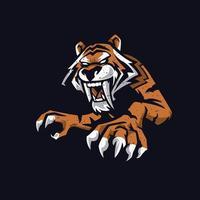 tigre arrabbiata con lunghe zanne. elemento di illustrazione vettoriale isolato su sfondo scuro.