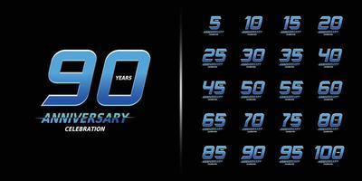 set di logotipo anniversario alla moda vettore