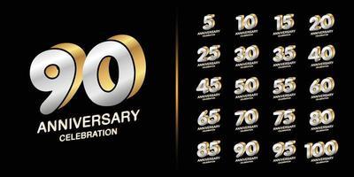set di logotipo anniversario premium vettore