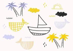 navi, pesci, sole, nuvole, mare e onde nel concetto di disegni per bambini. vettore