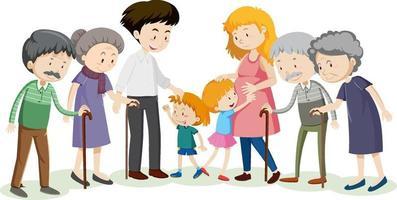 membro del personaggio dei cartoni animati di famiglia su priorità bassa bianca vettore