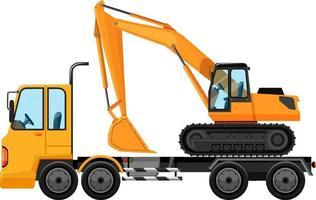 carro attrezzi che trasportano grande gru trattore su sfondo isolato vettore