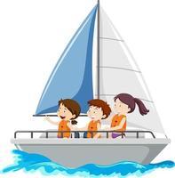 bambini sulla barca a vela isolato su sfondo bianco vettore