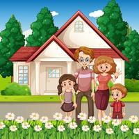 famiglia felice in piedi davanti alla casa vettore