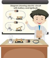 scienziato che spiega il circuito elettrico con batteria e lampadina vettore