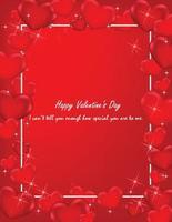 felice cartolina di san valentino con mini cuore di colore rosso.