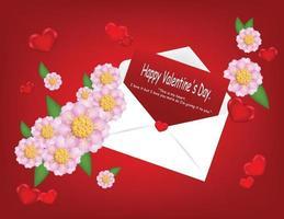 felice lettera di san valentino con seguace rosa e cuore.