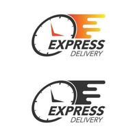 concetto di icona di consegna espressa. icona dell'orologio per servizio, ordine, spedizione veloce e gratuita. design moderno. vettore