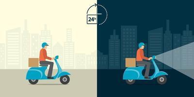consegna 24 ore su 24. servizio di consegna uomo giro scooter moto con sfondo tutto il giorno tutta la notte. spedizione veloce e gratuita in tutto il mondo. vettore