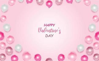 cartolina d'amore e di San Valentino con palloncini rosa e bianchi vettore