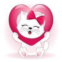 concetto di San Valentino gatto e cuore vettore