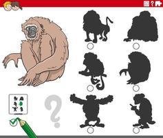 compito di ombre con personaggio animale scimmia gibbone cartone animato vettore
