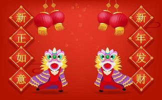 felice anno nuovo cinese con la danza del leone cinese e la lanterna su sfondo rosso la traduzione cinese è nuovi auguri e una fortuna nel nuovo anno