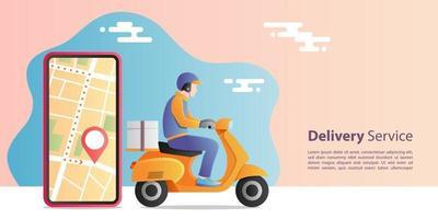 concetto di consegna espressa online. fattorino in sella a una moto scooter per il servizio con l'applicazione mobile di localizzazione. concetto di e-commerce.