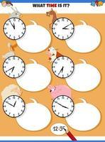raccontare il tempo gioco educativo con animali da fattoria dei cartoni animati vettore
