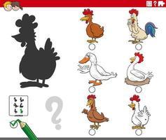 compito di ombre con personaggi animali di uccelli da fattoria dei cartoni animati vettore