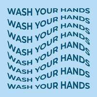 lavarsi le mani forma astratta di illustrazione vettoriale di testo onda. elemento grafico vettoriale con effetto warp per il tuo design