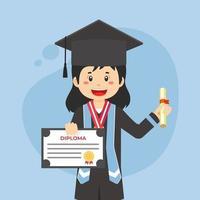 felice studente laureato in cappello nero e cappotto con diploma vettore