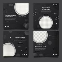 modelli di banner quadrati per caffetteria promozionale per post sui social media. vettore