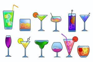 set di icone di bevande alcoliche e cocktail vettore