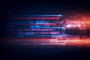alta velocità. hi-tech. concetto di sfondo tecnologia astratta modello di movimento di velocità e sfocatura di movimento su sfondo blu scuro. vettore