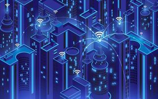 città intelligente con connessione wi-fi, concetto di tecnologia di comunicazione dell'informazione vettore