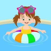 ragazza del bambino in un costume da bagno colorato e galleggiante vettore